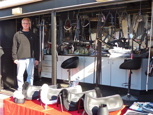 Terry with a huge selection of saddlery from Thinline Equestrian
